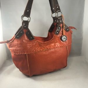 The Sak Orange brown soft leather bucket hobo